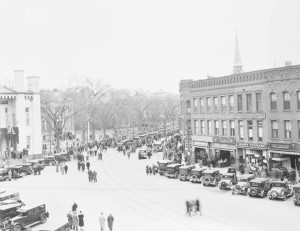 The funeral procession for President Calvin Coolidge who died at his home in Northampton January 5, 1933. Photo from the Calvin Coolidge Presidential Library & Museum at Forbes Library.